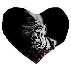 Zombie Large 19  Premium Flano Heart Shape Cushions by Valentinaart