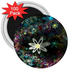Flowers Fractal Bright 3840x2400 3  Magnets (100 Pack)