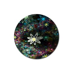 Flowers Fractal Bright 3840x2400 Rubber Coaster (round)  by amphoto