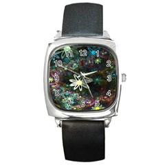 Flowers Fractal Bright 3840x2400 Square Metal Watch by amphoto