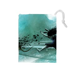Running Abstraction Drawing  Drawstring Pouches (medium)  by amphoto