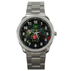 Shapes Circles Flowers  Sport Metal Watch by amphoto