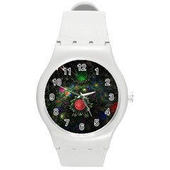 Shapes Circles Flowers  Round Plastic Sport Watch (m) by amphoto