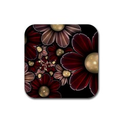 Flower Background Line Rubber Square Coaster (4 Pack)  by amphoto