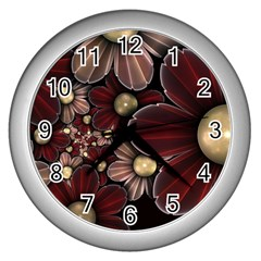 Flower Background Line Wall Clocks (silver)  by amphoto