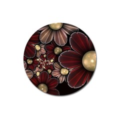 Flower Background Line Magnet 3  (round) by amphoto