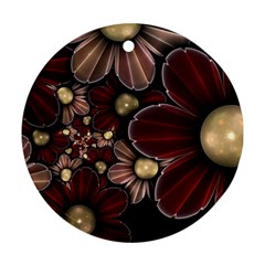 Flower Background Line Round Ornament (two Sides) by amphoto