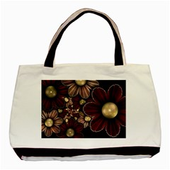 Flower Background Line Basic Tote Bag (two Sides) by amphoto