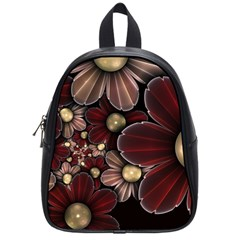 Flower Background Line School Bag (small) by amphoto