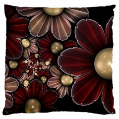 Flower Background Line Large Flano Cushion Case (one Side) by amphoto
