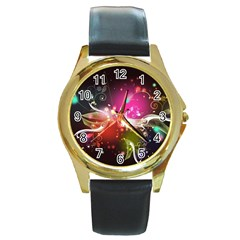 Plant Patterns Colorful  Round Gold Metal Watch by amphoto