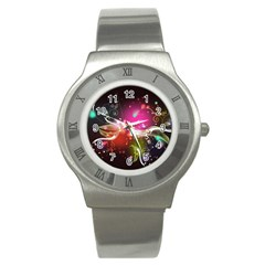 Plant Patterns Colorful  Stainless Steel Watch by amphoto