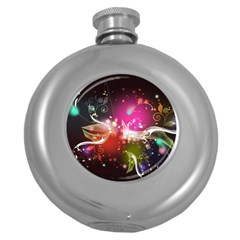 Plant Patterns Colorful  Round Hip Flask (5 Oz) by amphoto
