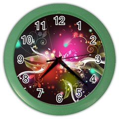Plant Patterns Colorful  Color Wall Clocks by amphoto