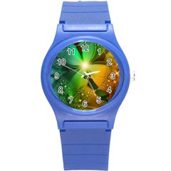 Flowers Petals Colorful  Round Plastic Sport Watch (s) by amphoto