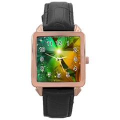 Flowers Petals Colorful  Rose Gold Leather Watch  by amphoto