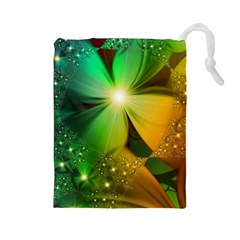 Flowers Petals Colorful  Drawstring Pouches (large)  by amphoto
