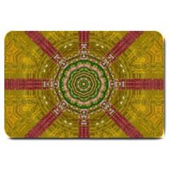 Mandala In Metal And Pearls Large Doormat  by pepitasart