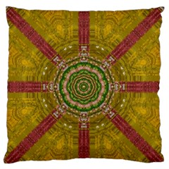 Mandala In Metal And Pearls Large Flano Cushion Case (two Sides) by pepitasart