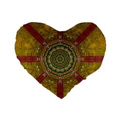Mandala In Metal And Pearls Standard 16  Premium Flano Heart Shape Cushions by pepitasart