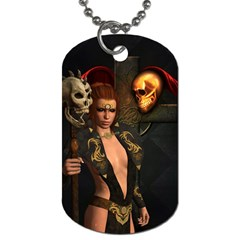 The Dark Side, Women With Skulls In The Night Dog Tag (two Sides) by FantasyWorld7
