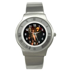The Dark Side, Women With Skulls In The Night Stainless Steel Watch by FantasyWorld7