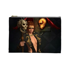 The Dark Side, Women With Skulls In The Night Cosmetic Bag (large)  by FantasyWorld7