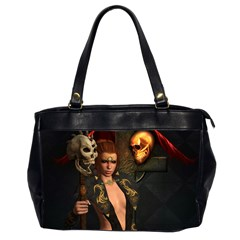 The Dark Side, Women With Skulls In The Night Office Handbags (2 Sides)  by FantasyWorld7