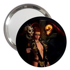 The Dark Side, Women With Skulls In The Night 3  Handbag Mirrors by FantasyWorld7