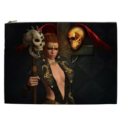 The Dark Side, Women With Skulls In The Night Cosmetic Bag (xxl)  by FantasyWorld7