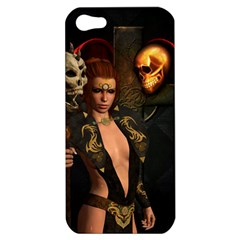 The Dark Side, Women With Skulls In The Night Apple Iphone 5 Hardshell Case by FantasyWorld7