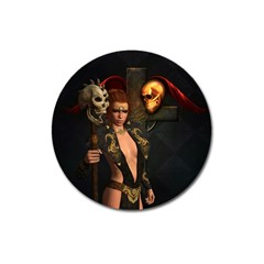 The Dark Side, Women With Skulls In The Night Magnet 3  (round) by FantasyWorld7
