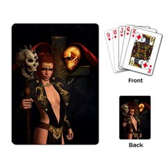 The Dark Side, Women With Skulls In The Night Playing Card by FantasyWorld7