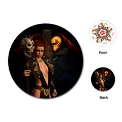 The Dark Side, Women With Skulls In The Night Playing Cards (round)  by FantasyWorld7