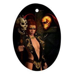 The Dark Side, Women With Skulls In The Night Oval Ornament (two Sides) by FantasyWorld7