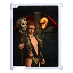 The Dark Side, Women With Skulls In The Night Apple Ipad 2 Case (white) by FantasyWorld7