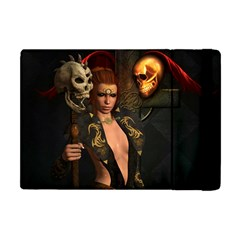 The Dark Side, Women With Skulls In The Night Apple Ipad Mini Flip Case by FantasyWorld7