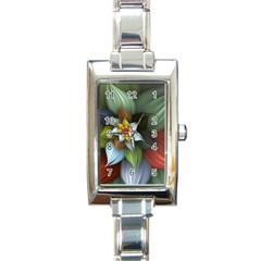 Flower Background Colorful Rectangle Italian Charm Watch by amphoto