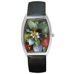 Flower Background Colorful Barrel Style Metal Watch by amphoto