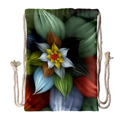 Flower Background Colorful Drawstring Bag (large) by amphoto