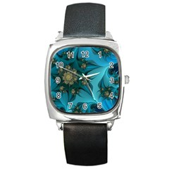 Fractal Flower White Square Metal Watch by amphoto