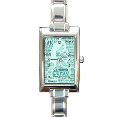 Belicious World Curvy Girl Wordle Rectangle Italian Charm Watch by beliciousworld