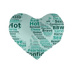Belicious World Curvy Girl Wordle Standard 16  Premium Flano Heart Shape Cushions by beliciousworld