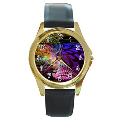 Fractal Patterns Background  Round Gold Metal Watch by amphoto