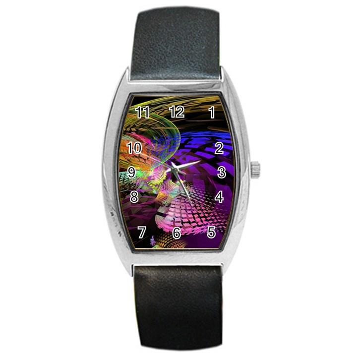 Fractal Patterns Background  Barrel Style Metal Watch