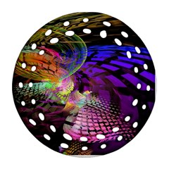 Fractal Patterns Background  Round Filigree Ornament (two Sides) by amphoto
