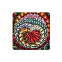 Circles Lines Background  Square Magnet by amphoto