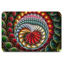 Circles Lines Background  Large Doormat  by amphoto