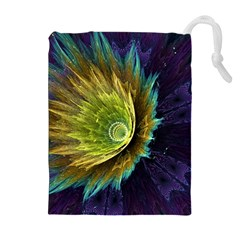 Flower Line Smoke  Drawstring Pouches (extra Large) by amphoto