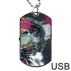 Face Paint Explosion 3840x2400 Dog Tag Usb Flash (one Side) by amphoto
